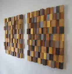Handmade d wooden block modern wall art pair large