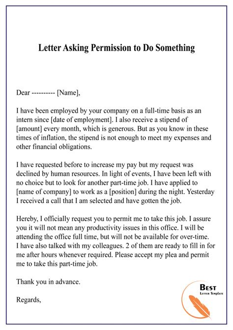 permission letter template format sample
