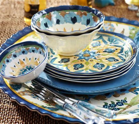 cabo melamine dinnerware set   blue pottery barn