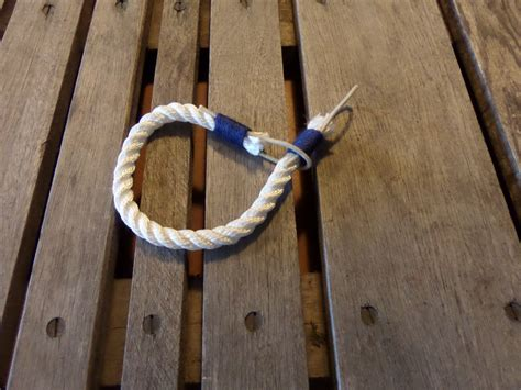 White Curtain Tie Back White Rope With Navy Accent Trim