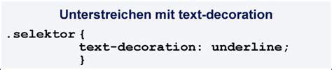 css text decoration unterstrich durchgestrichen und oberstrich