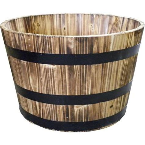 home depot whiskey barrel planters real wood 26 in dia cedar half whiskey barrel planter