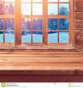 Christmas Background With Wooden Empty Table Over Window ...