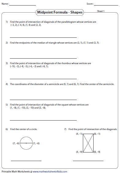 Midpoint Formula Worksheets