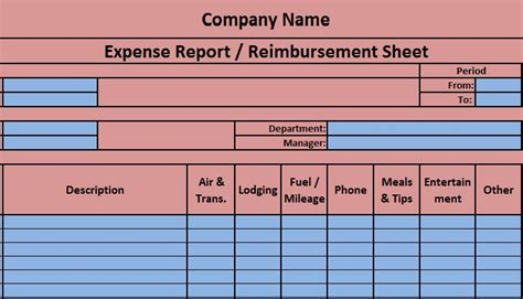 expense report excel template exceldatapro