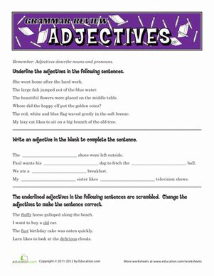 grammar review adjectives worksheet education com
