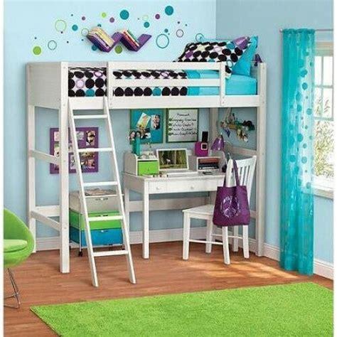 kids loft bed white ladder desk wood bunk furniture