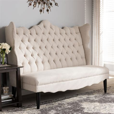 Upholstered Loveseat by Baxton Studio Witherby Traditional Beige Fabric