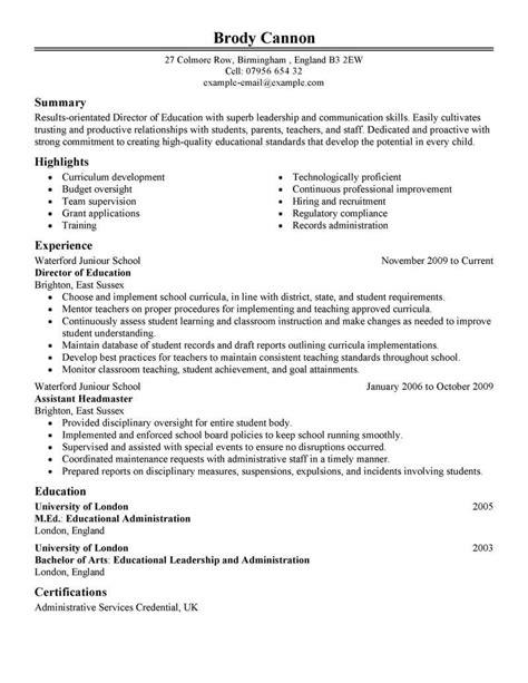 Director Resume by Best Director Resume Exle Livecareer