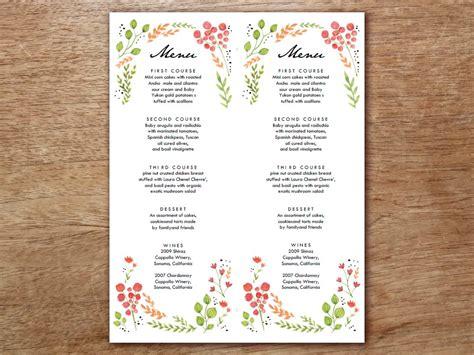 menu template watercolor flowers