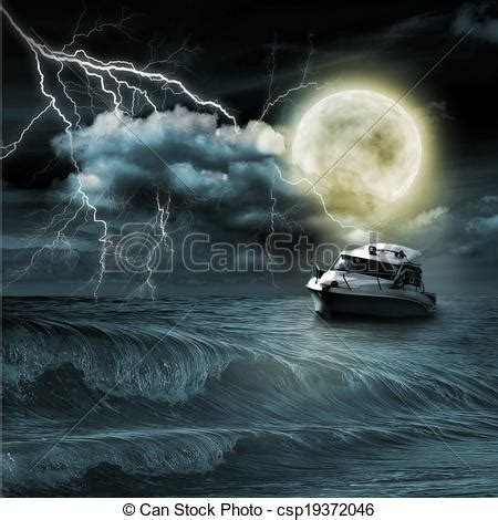 Barco En Una Tormenta Dibujo by Drawing Of Boat In Storm Evening On Ocean And The Moon
