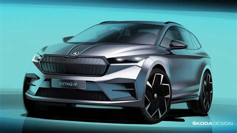 skoda enyaq electric car teased  sketches