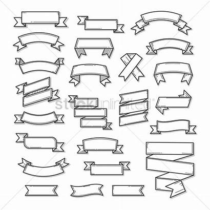 Ribbon Banner Outline Vector Drawing Line Graphic