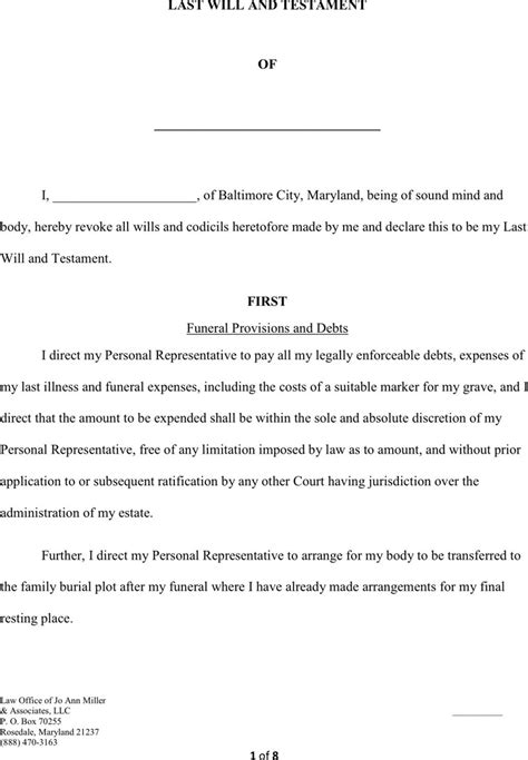 Last Will And Testament Free Template Maryland by Maryland Last Will And Testament Form Free