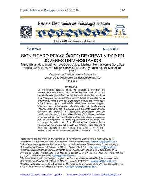 (pdf) Significado Psicológico De Creatividad En Jóvenes