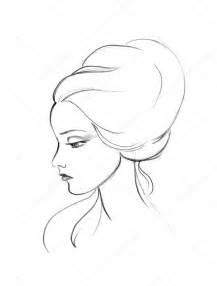 Beautiful Woman Face Profile Line Drawing