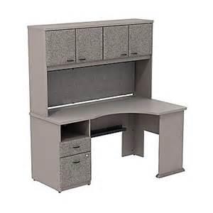 bush cubix expandable corner desk with 60 quot w hutch pewter
