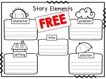 story elements worksheet title character setting problem solution school words completed