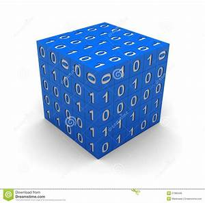 Cube with binary code stock illustration. Image of bright ...