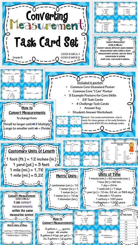 measurement conversion task card  poster set