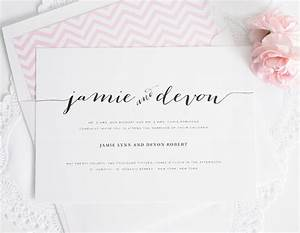 wedding invitations with unique script names and a pink With wedding invitations wording with guest names