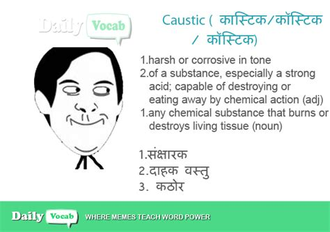 Caustic Meaning In Hindi With Picture Dictionary