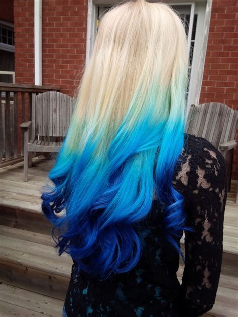 Coloring Hair Blue by Platinum To Blue Ombre Hair Goals