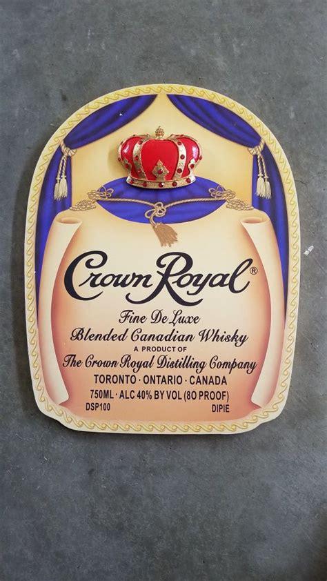 vintage crown royal bottle bag label  jeweled crown wood