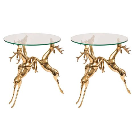 deer table l pair of glass top side tables featuring brass base