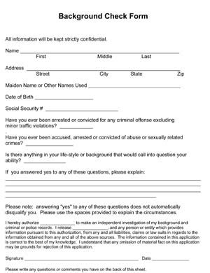 Free Background Check Background Check Form Small Business Free Forms