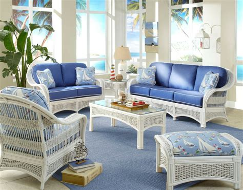 Sunroom Sofa Sets by Regatta Indoor White Wicker And Rattan 5 Pc Living Room