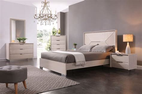 lucy italian high gloss cream walnut bedroom set modish