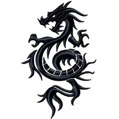 machine embroidery design tribal dragon design