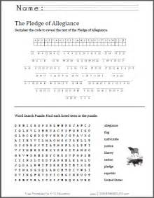Pledge of Allegiance Printable Worksheets