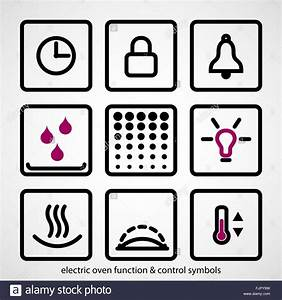 Electric oven function & control symbols. Outline icon ...