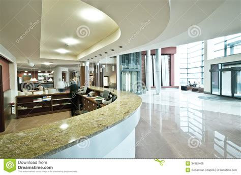 modern hotel reception desk royalty  stock