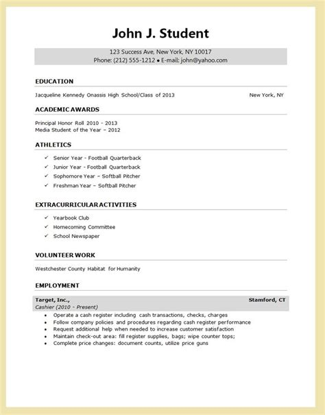 high school senior resume  college application google
