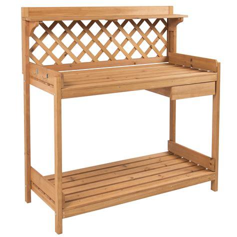 wooden storage box potting bench outdoor garden work bench station planting