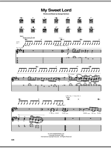 jose feliciano my sweet lord my sweet lord guitar tab by george harrison guitar tab