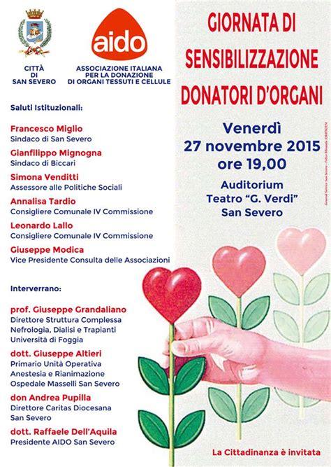 Comune Di San Severo Ufficio Anagrafe - giornata di sensibilizzazione donatori di organi venerd 236