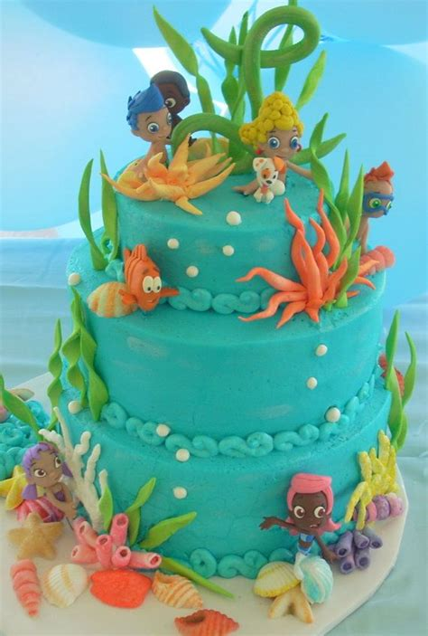 guppies cake decorations shells coral seaweed water themed guppy