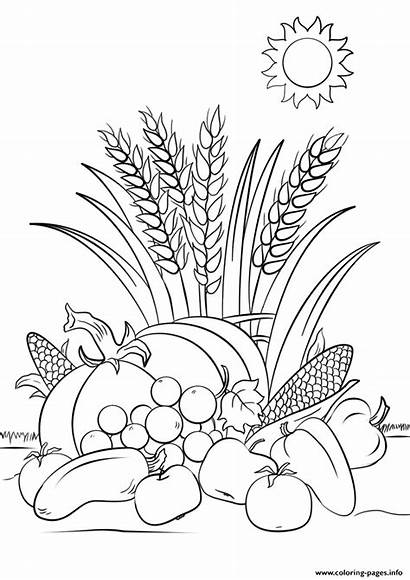 Coloring Fall Autumn Pages Printable Harvest Leaves