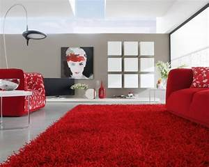 idee deco salon en rouge 30 photos sympas embellir espace With tapis rouge avec ensemble fauteuil canapé