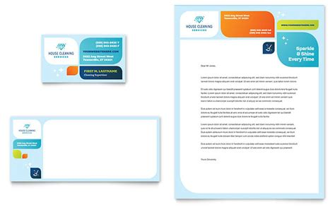 cleaning services business card letterhead template