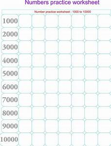 Numbers Practice Worksheets  Only Thousands  - 1000