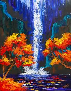 Easy Pallet Knife of a Waterfall landscape with Fall trees ...