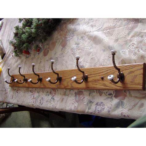 oak brass  porcelain coat rail wall rack