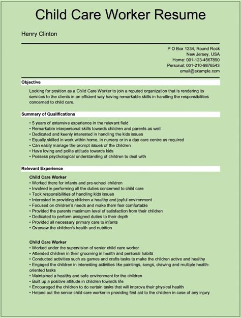 resume for child care sles 28 images 11 child care