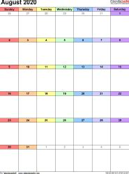 august  calendar templates  word excel