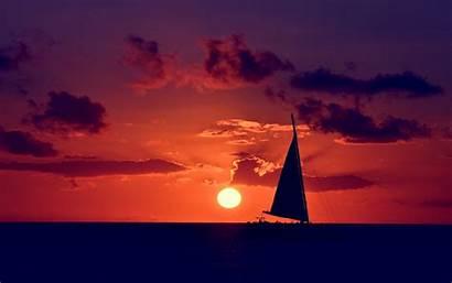 Sunset Ocean Sailing Wallpapers 4k Pink Desktop